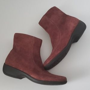 Clarks Maroon Suede Wedge Ankle Boots Side Zipper